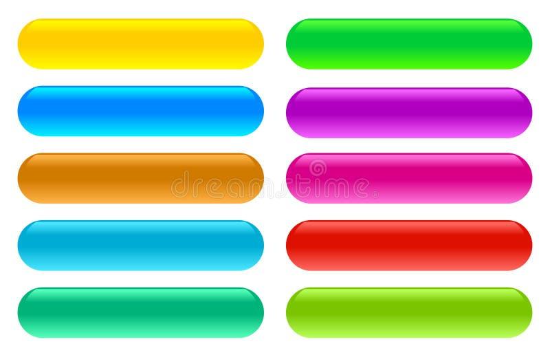 Bottoni di vetro lucidi di web delle icone su un fondo bianco isolato royalty illustrazione gratis