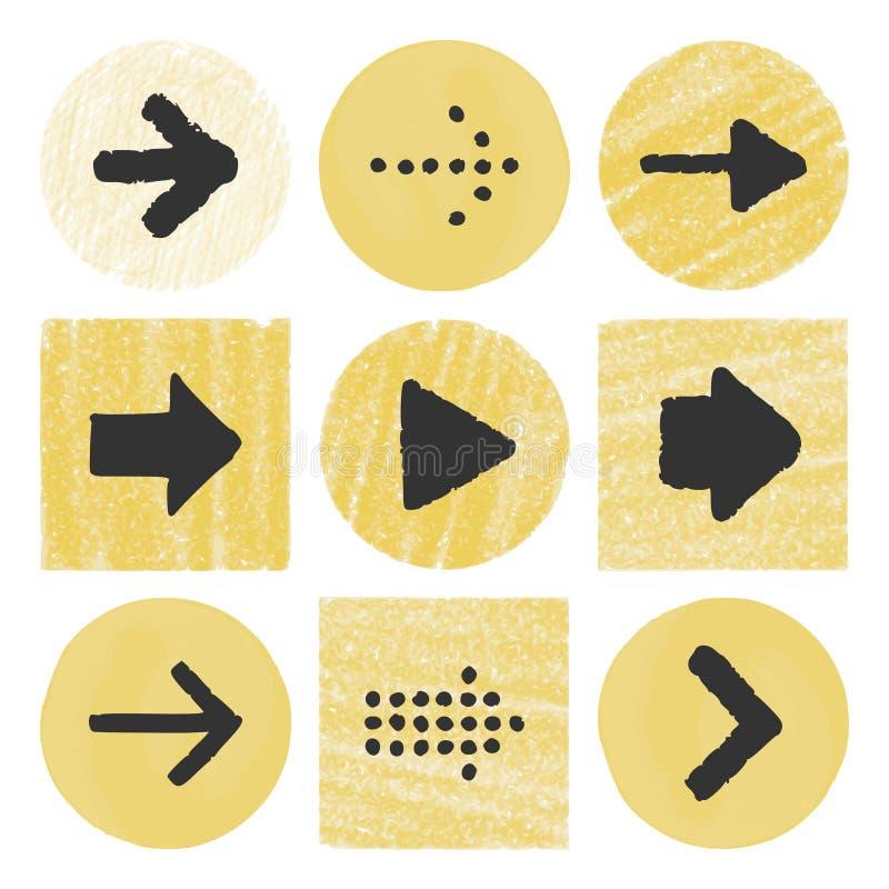 Bottoni disegnati a mano delle frecce illustrazione vettoriale