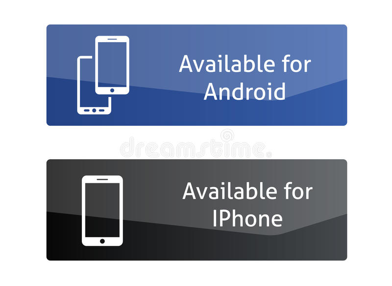 Bottoni disponibili per l'androide e Iphone royalty illustrazione gratis