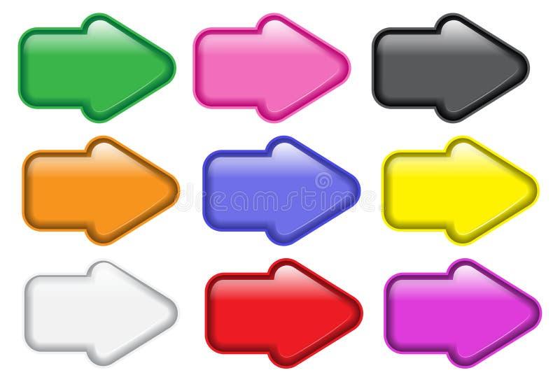 Bottoni a forma di freccia lucidi royalty illustrazione gratis