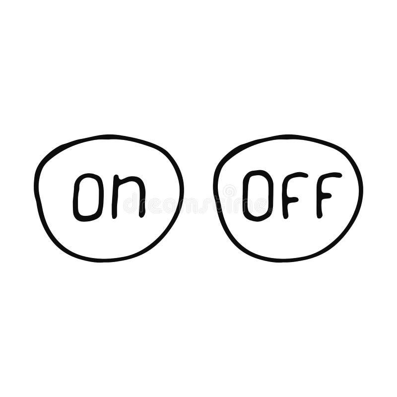 Bottoni in funzione e a riposo l'icona di schizzo Oggetto isolato royalty illustrazione gratis