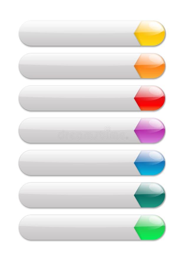 Bottoni grigi di Internet con la parte lucida variopinta illustrazione vettoriale