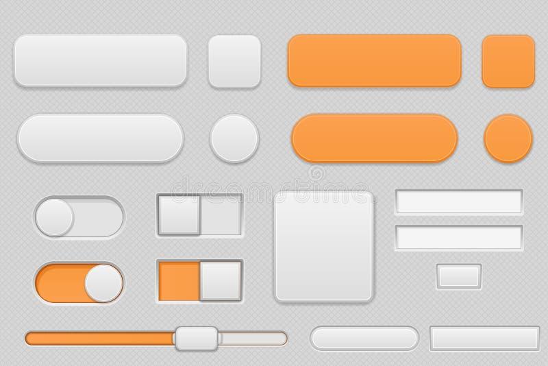 Bottoni grigio chiaro ed arancio dell'interfaccia royalty illustrazione gratis
