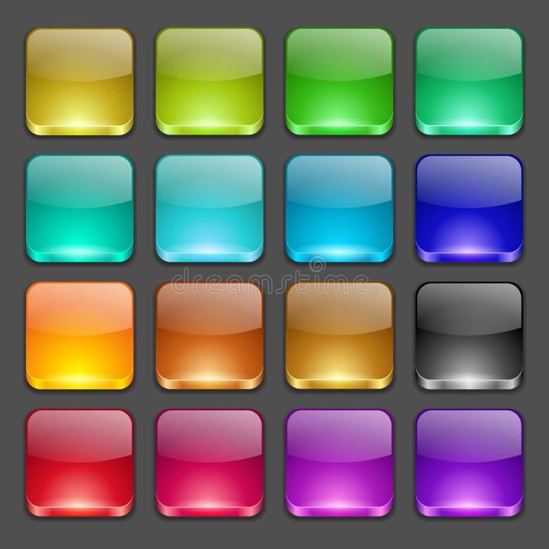 Bottoni lucidi quadrati variopinti royalty illustrazione gratis