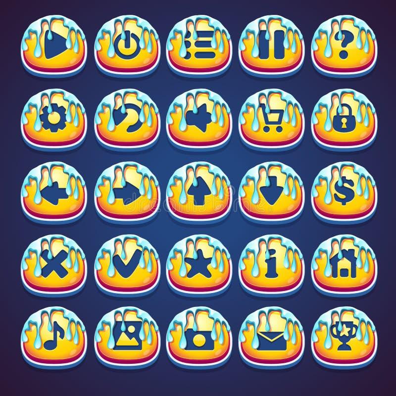 Bottoni melliflui stabiliti per il video gioco di web in marmellata d'arance di stile illustrazione di stock
