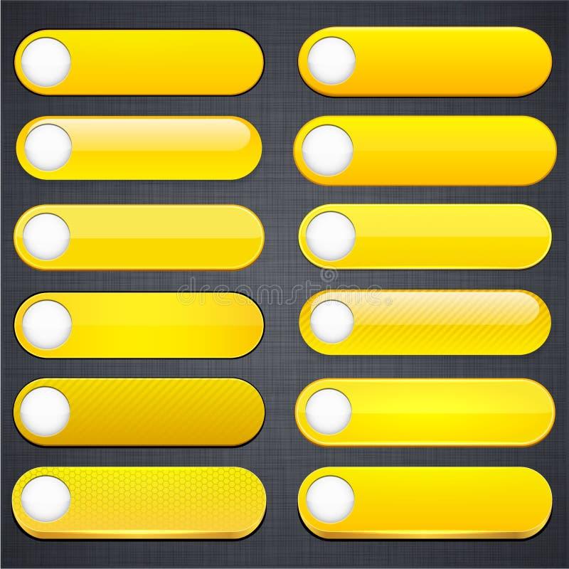 Bottoni moderni alto-dettagliati gialli di Web. royalty illustrazione gratis