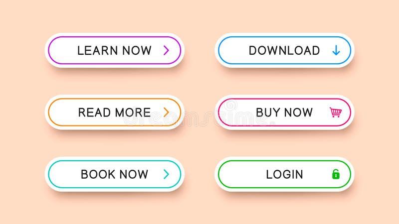 Bottoni multicolori di vettore per web design illustrazione vettoriale