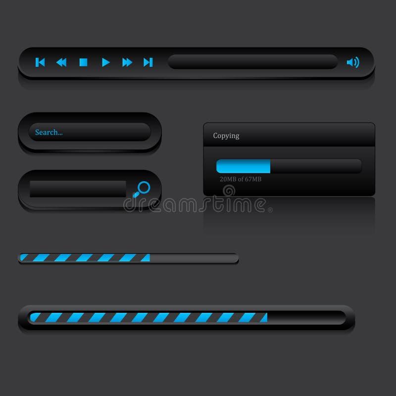 Bottoni neri di web illustrazione vettoriale