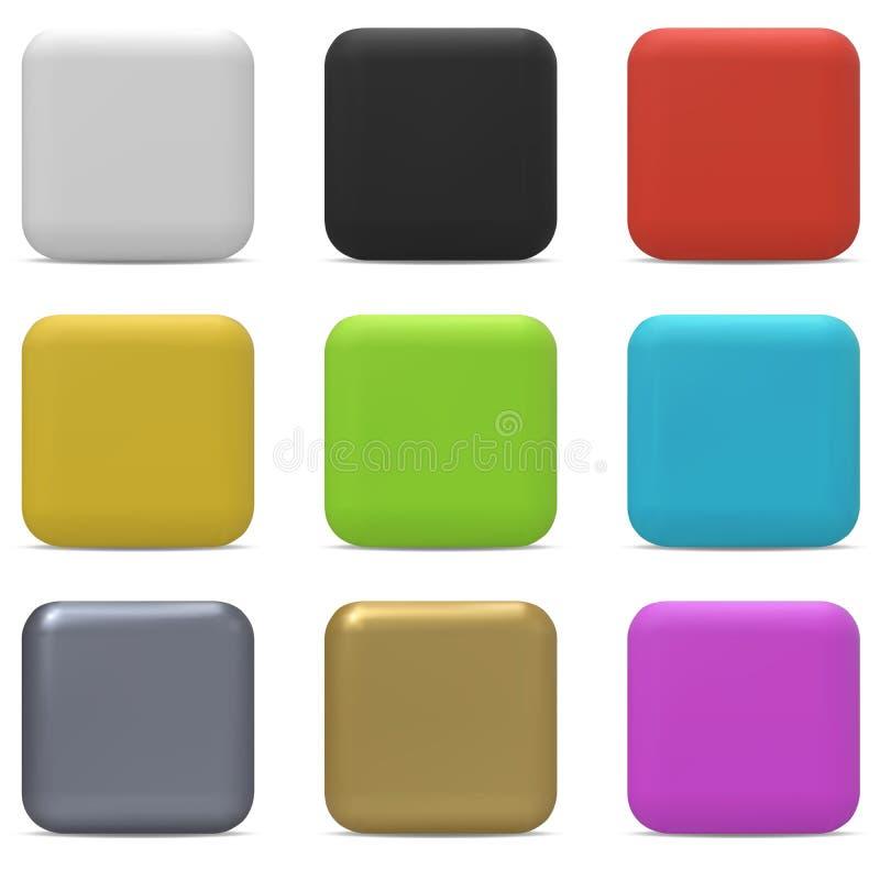 Bottoni quadrati arrotondati colore royalty illustrazione gratis