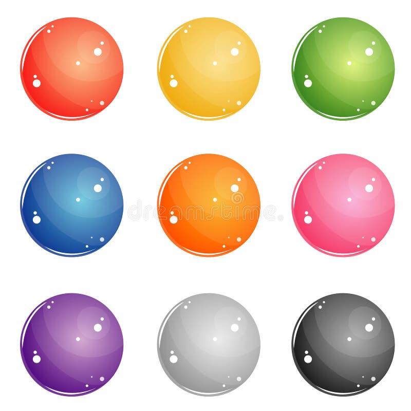 Bottoni rotondi di colore per il web illustrazione vettoriale