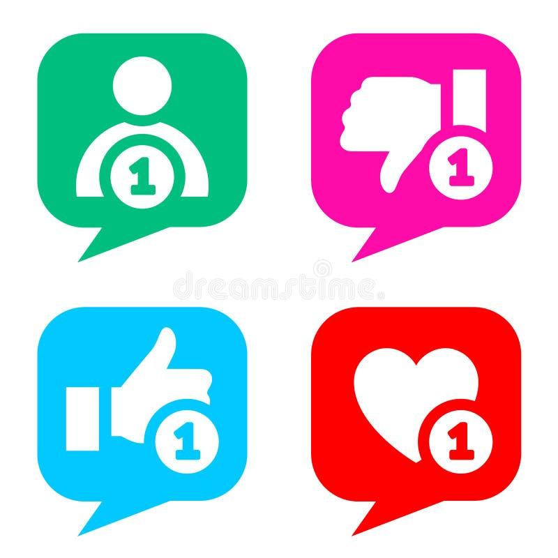 Bottoni semplici con la rete sociale di reazioni dell'utenza illustrazione vettoriale