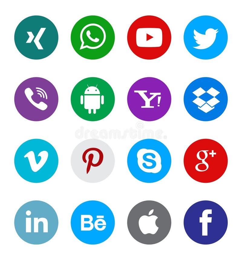 Bottoni sociali della raccolta dell'icona di media illustrazione vettoriale