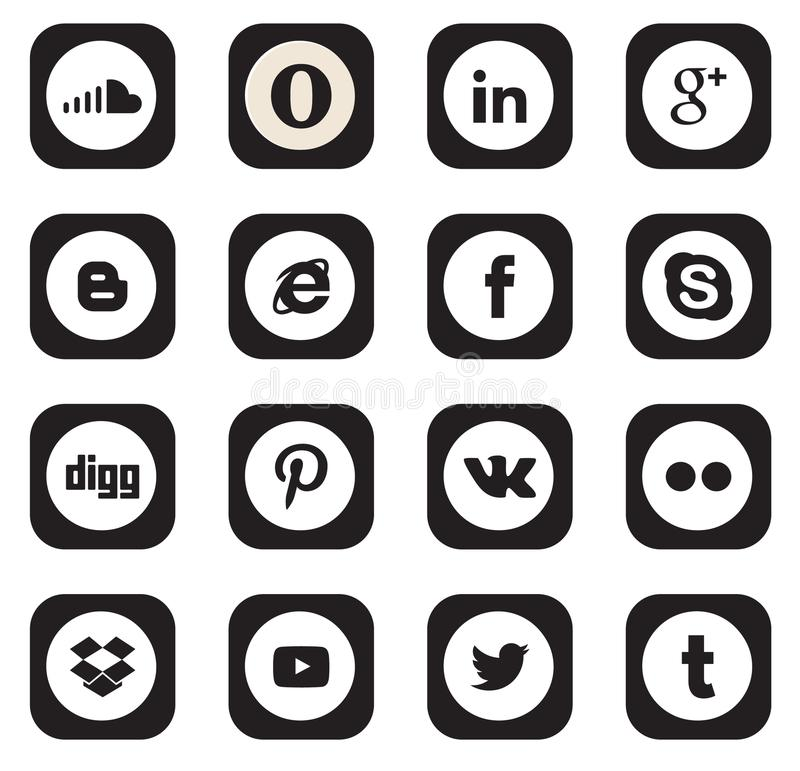 Bottoni sociali della raccolta dell'icona di media illustrazione di stock