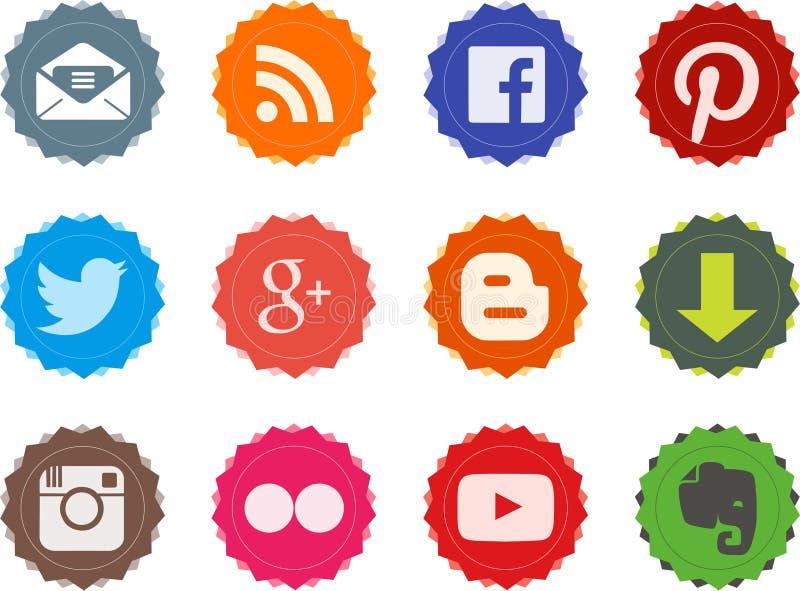 Bottoni sociali 1 di web illustrazione di stock