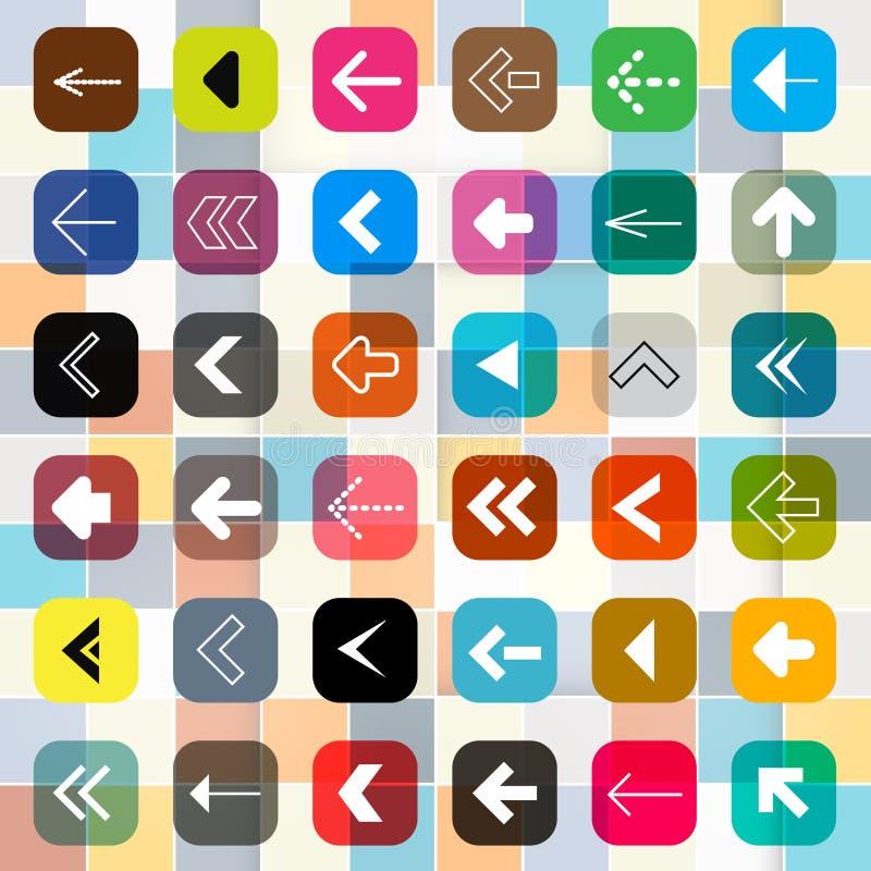Bottoni variopinti della freccia su fondo quadrato illustrazione vettoriale
