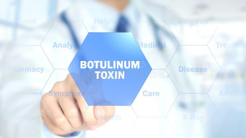 Botulinum токсин, доктор работая на голографическом интерфейсе, графиках движения стоковое фото rf