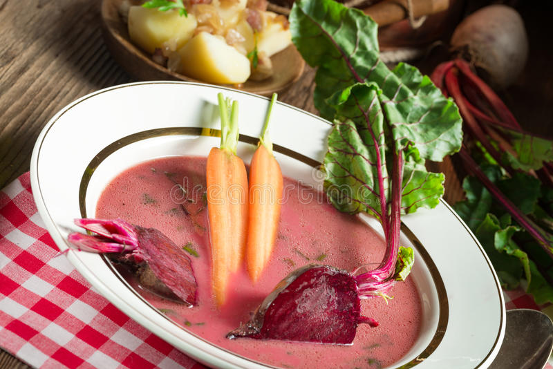 Botwinka - Soup of young beet leaves stock images