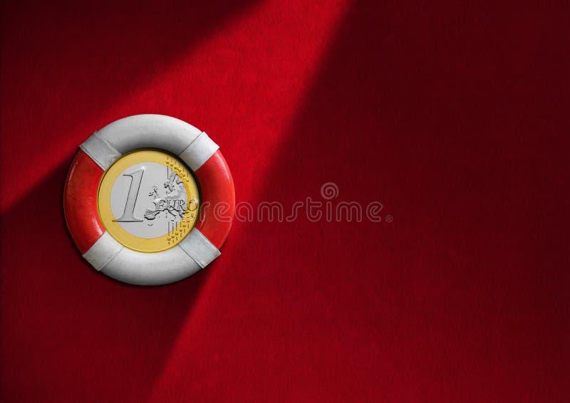 Bouée de sauvetage avec l'euro pièce de monnaie illustration stock