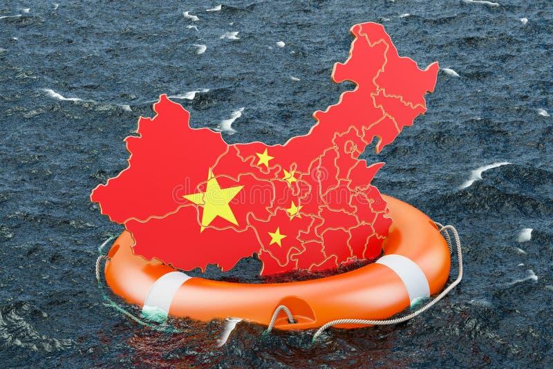 Bouée de sauvetage avec la carte chinoise en mer ouverte Coffre-fort, aide et protec illustration stock