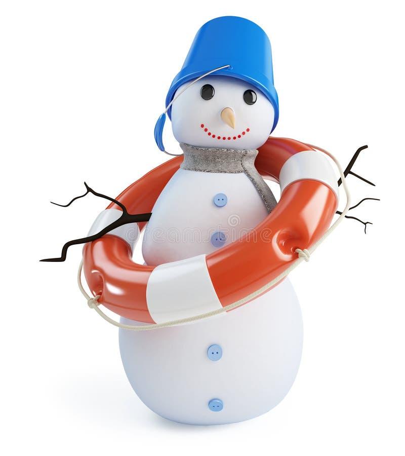 Bouée de sauvetage de bonhommes de neige sur un fond blanc illustration stock