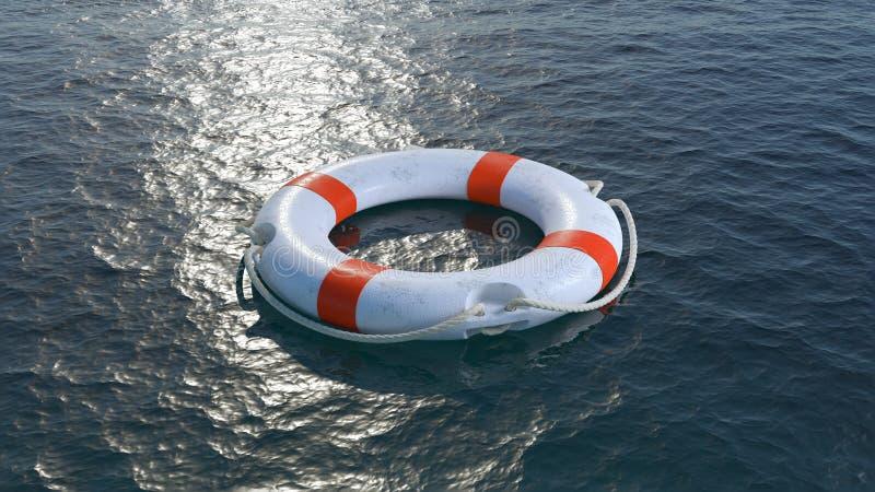 Bouée de sauvetage en mer 3d rendent illustration libre de droits