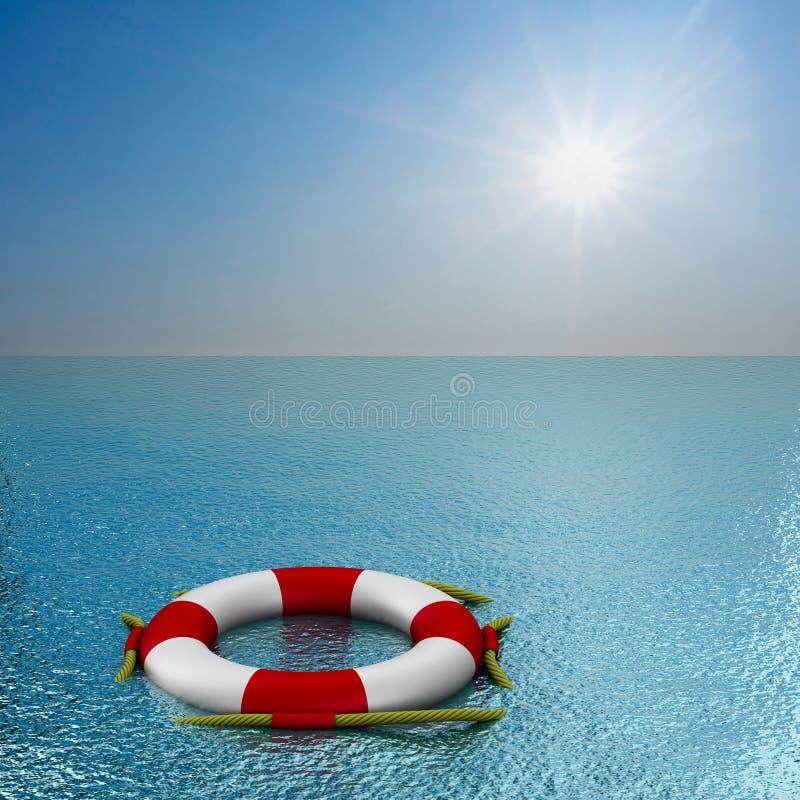 Bouée de sauvetage sur l'eau illustration stock