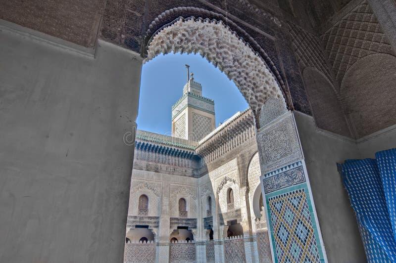 Bou Inania Madrasa em Fez, Marrocos fotografia de stock royalty free