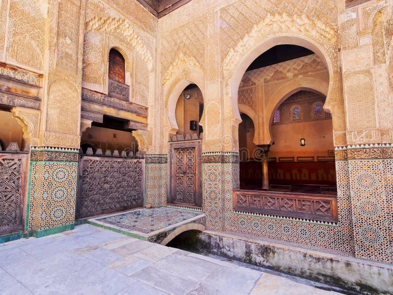 Bou Inania Madrasa in Fes, Marokko stock afbeeldingen