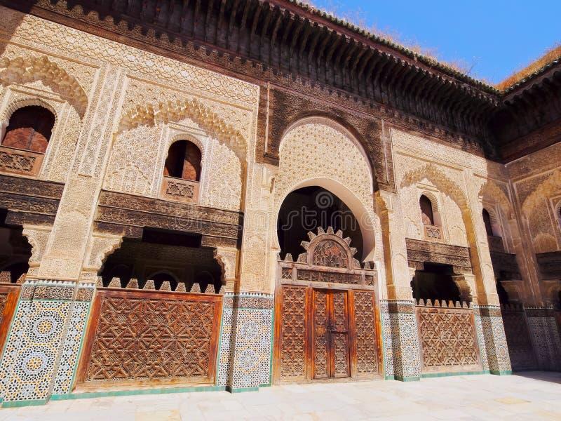 Bou Inania Madrasa in Fes, Marokko stock foto