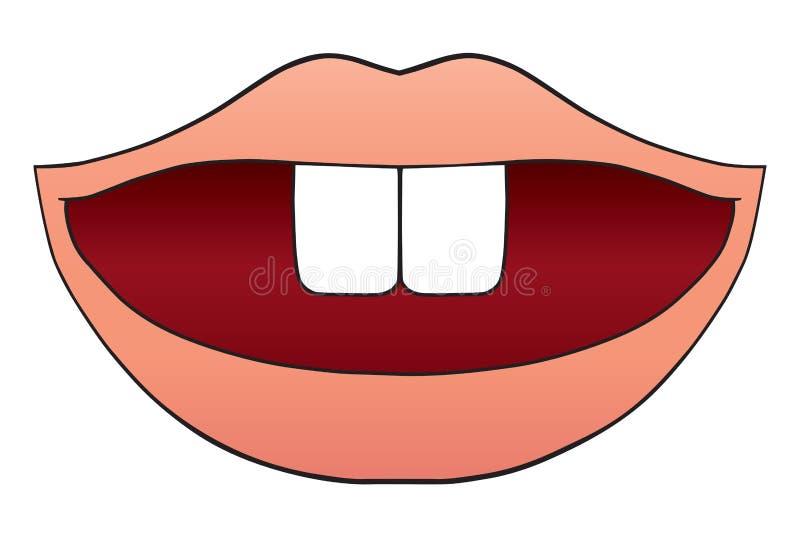 Bouche avec deux dents illustration stock