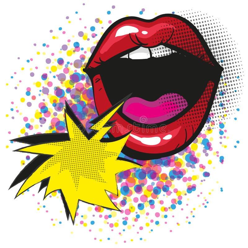 Bouche criarde avec les lèvres rouges et le style comique d'art de bruit de bulle de la parole illustration de vecteur