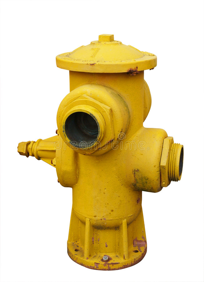 Bouche d'incendie jaune antique images libres de droits