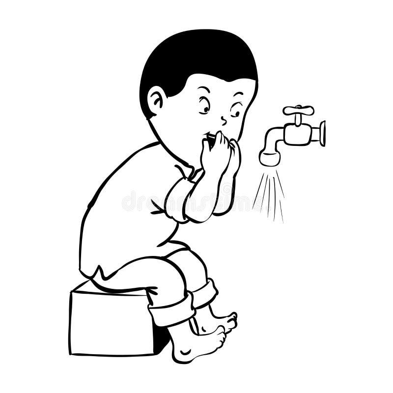 Bouche de nettoyage de garçon pour l'illustration de wudhu-vecteur illustration de vecteur