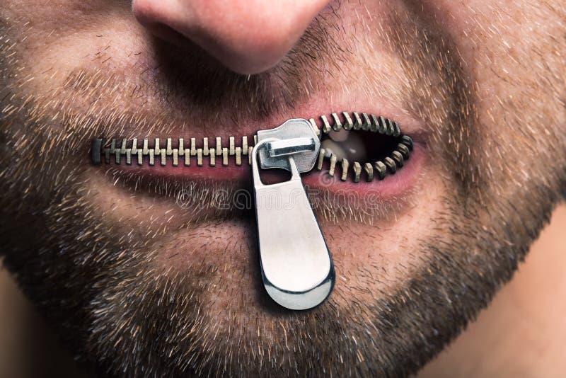 Bouche fermée la fermeture éclair photographie stock libre de droits