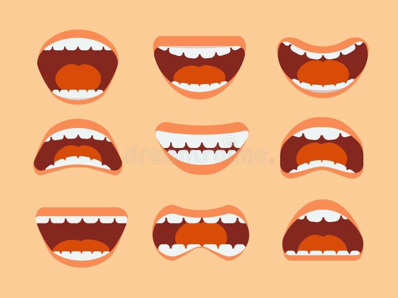 Bouche humaine, dents et langue de bande dessinée drôle avec l'ensemble différent de vecteur d'expressions d'isolement illustration stock