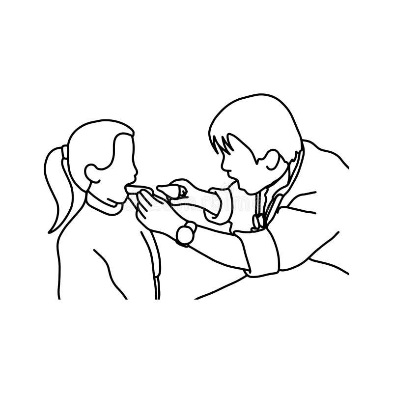 Bouche ouverte de fille prête pour l'illustratio de vecteur d'examen de dentiste illustration libre de droits