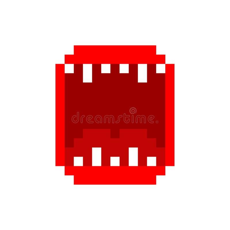 Bouche ouverte fâchée avec l'art de pixel de dents 8bit illustration stock