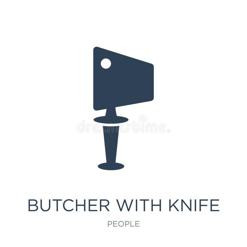 boucher avec l'icône de couteau dans le style à la mode de conception boucher avec l'icône de couteau d'isolement sur le fond bla illustration de vecteur