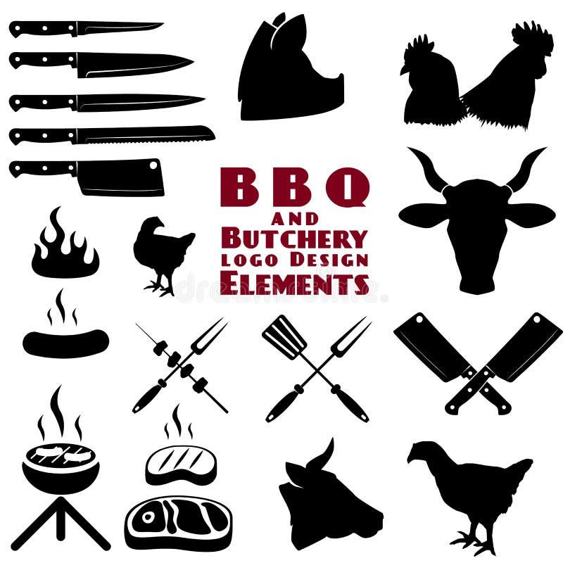Boucher et outils de BBQ illustration libre de droits