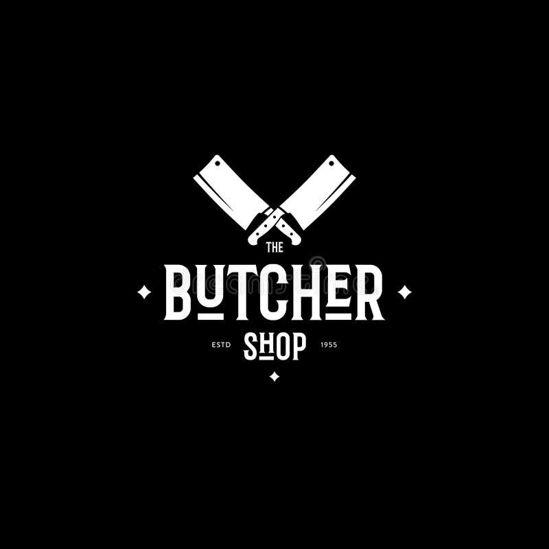 Boucher Shop Emblem avec l'illustration noire de vecteur de couteaux illustration de vecteur