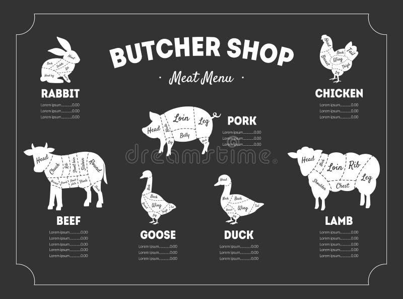 Boucher Shop Label, menu de viande, animaux de ferme et volaille avec des lignes de coupes de viande, illustration de vecteur de  illustration libre de droits