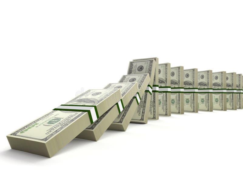 100 bouchons de billet d'un dollar comme morceaux de domino illustration stock