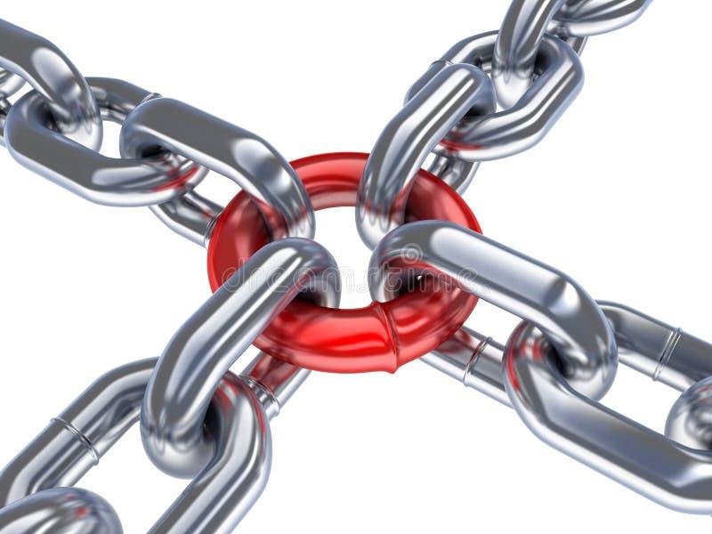 Boucle à chaînes et rouge illustration libre de droits
