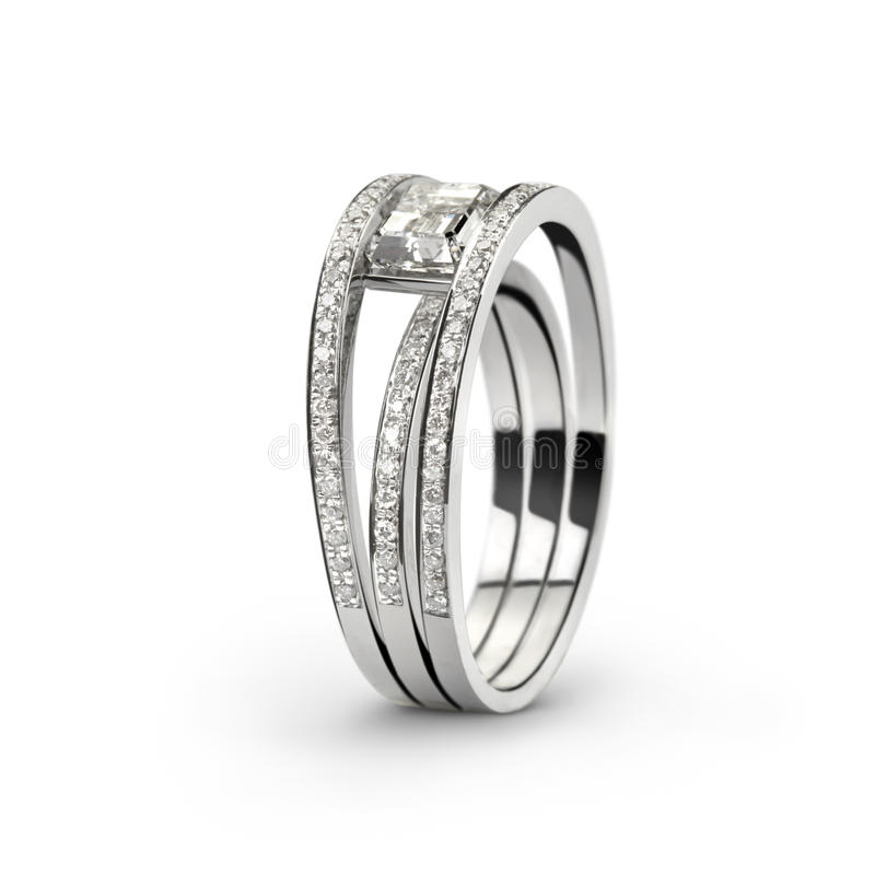 Boucle d'or blanc avec diamonds_2 blanc image stock