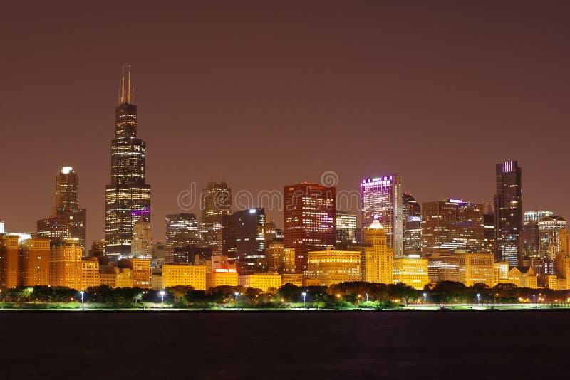 Boucle de Chicago vue du planétarium d'Adler image libre de droits