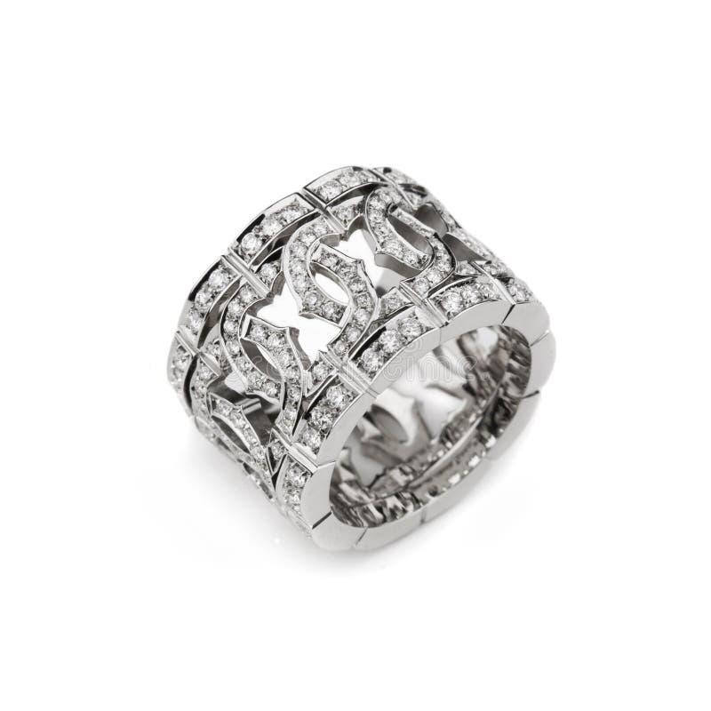 Boucle de configuration d'or blanc avec les diamants blancs pour le gi photos libres de droits