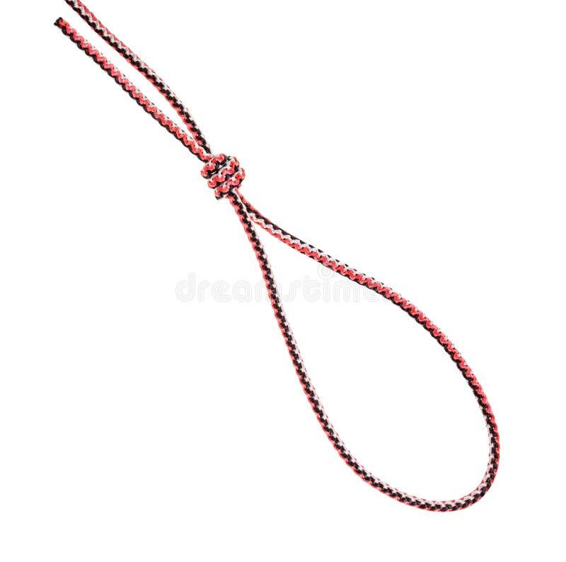 Boucle de noeud de potence attachée sur la corde synthétique images libres de droits