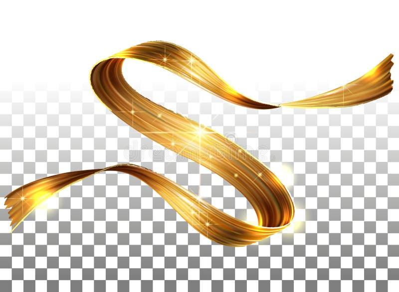 Boucle de peinture du vecteur 3D Course en spirale abstraite de brosse Forme débordante de ruban Encre liquide de Digital Vague a illustration libre de droits