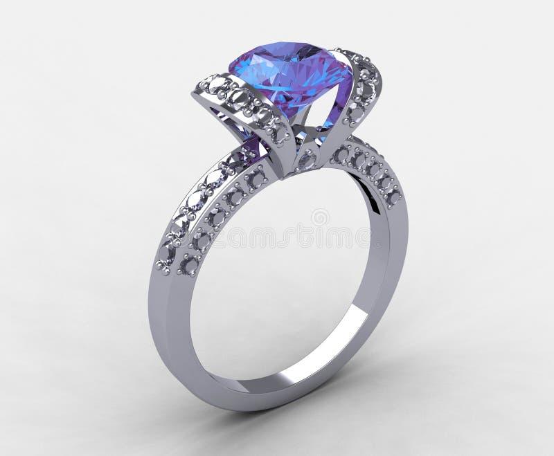 Boucle nuptiale amethyst lilas de diamant de platine illustration stock