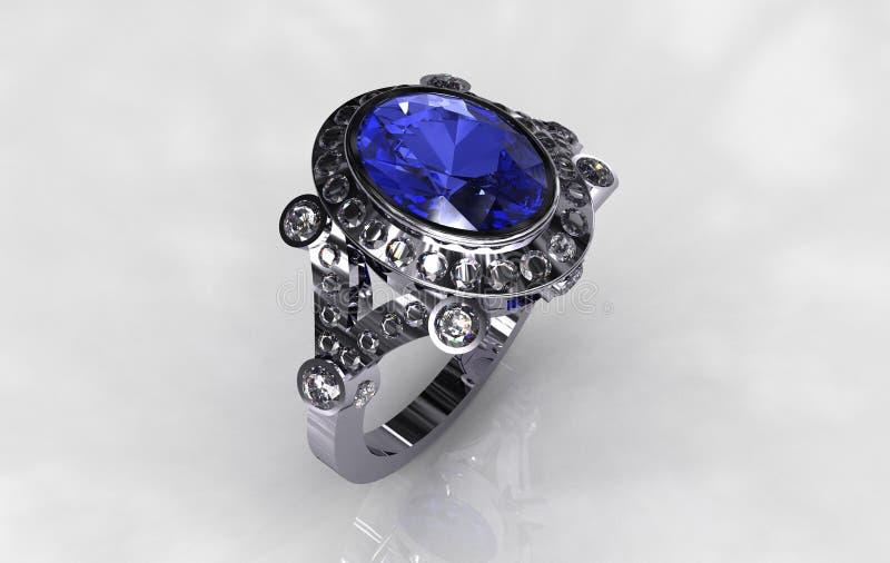 Boucle nuptiale de saphir bleu ovale de diamant de platine photo stock